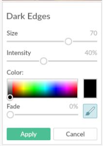 PicMonkey Dark Edges Tool Options