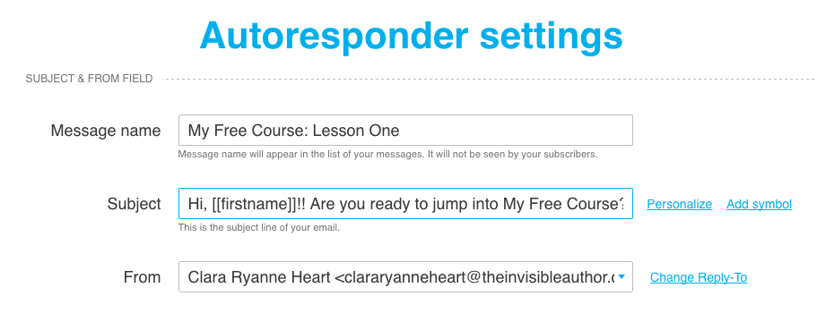 GetResponse Autoresponder Email Settings