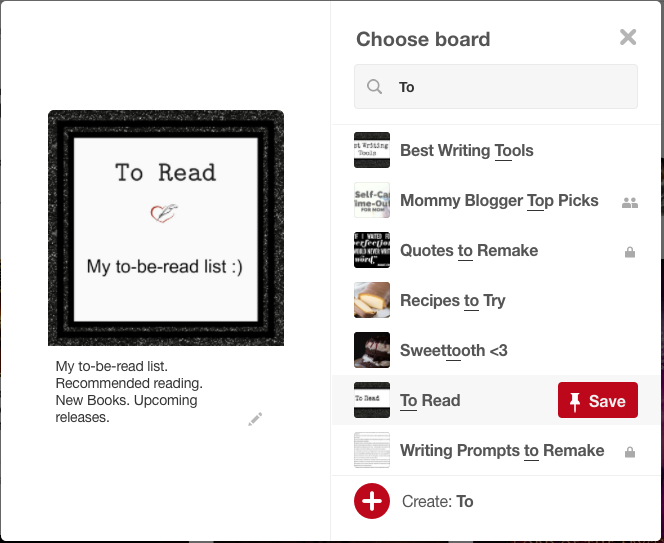 Pinterest Choose a Board